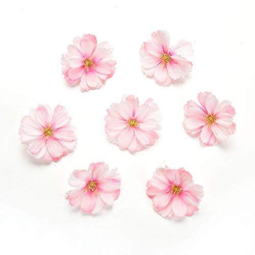 Artificial Flower 50pcs mini silk plum blossom wedding decoration DIY wreath clip clip accessories handmade craft flower head (pink) -