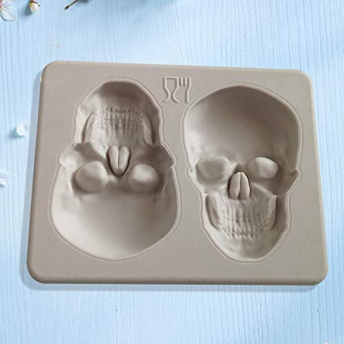 1 piece Halloween Silicone Skull Sugar Fondant Cake Molds 3D Skull Cake Shape Decoration Embosser For DIY Mold Baking Cake Tools ()