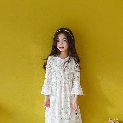 XIU Falda Manga Con Niñas RONG white Mangas De Trompeta De Rice Larga Las Princesa Vestido rwArqXf