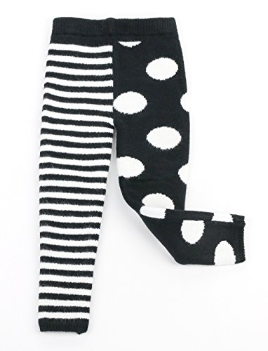 Maria Elena - Infants & Toddler Thick Thermal Leggings Mix Match Polka Dot & Stripe Kelly & Katie -Black White 3T