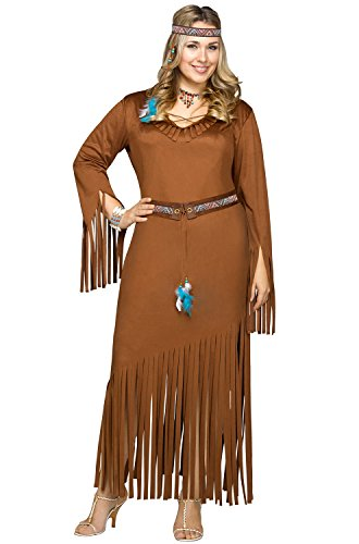 Plus Size Pocahontas Adult Costumes (Fun World Women's Plus Size Indian Summer Costume, Brown, X-Large)