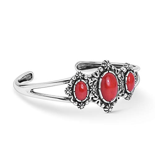 (American West Sterling Silver Red Coral Gemstone 3-Stone Floral Filigree Cuff Bracelet Size Large)