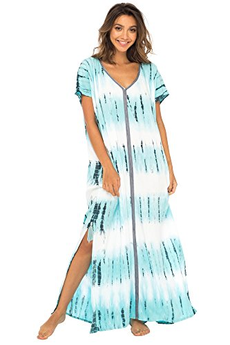 s Long Swimsuit Bathing Suit Cover Up Maxi Beach Dress Boho Striped Summer Dress Caftan Marine ()