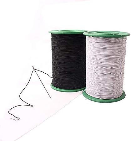 Chengyida hilo elástico blanco y negro para prendas de vestir, accesorios de tela, máquina de bricolaje, industria, hilo elástico de coser, 547 yardas, paquete de 0,5 mm de grosor