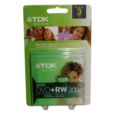 TDK 3 Pack Mini DVD+RW 30 Minute 1.4GB Discs with Case