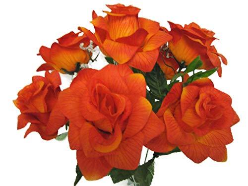 - 2 Bushes Orange Open Rose Artificial Silk Flowers 14