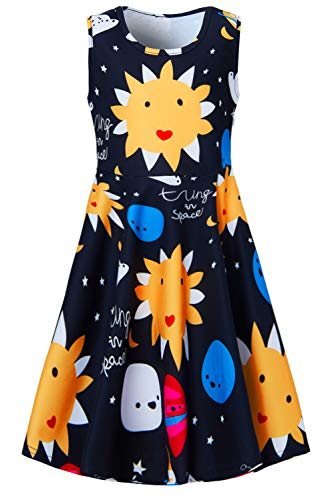- Yellow Sunflower Kids Girls Dresses 4t 5t Cartoon Smile 3D Print Face Elf Baby Toddler Cute Animal Graphics Princess Summer Fancy Swing A Line Sundress for Birthday Dance Party Polka Dot Midi Dresses