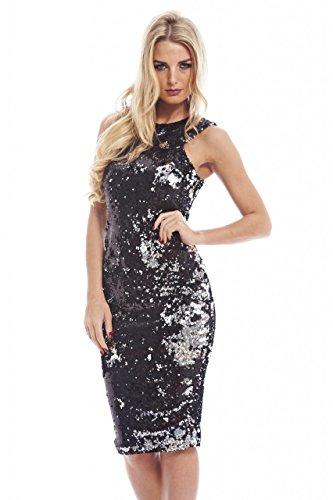 AX Paris Women's Two Color Way Sequinblacksilver Dress(Black Silver, (Black And Silver Sequin Dress)