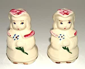 Sunbonnet Sue With Spring Flowers Salt And Pepper Shakers