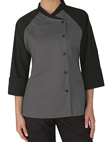 3/4 Sleeve Chef Coat (3/4 Contrast Sleeves Women's Ladies Chef's Coat Jackets By Chef Apparels (L (For Bust 38-39), Grey))