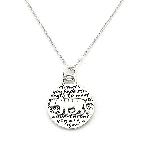- Kevin N Anna Animals Inspirations Quote Sterling Silver Pendant Necklace (Tiger)