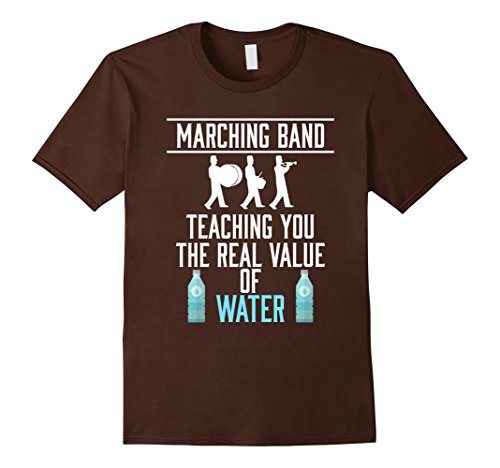 Men's FUNNY MARCHING BAND T-SHIRT School Student Teacher Large Brown (Marching Band Halloween Costume)