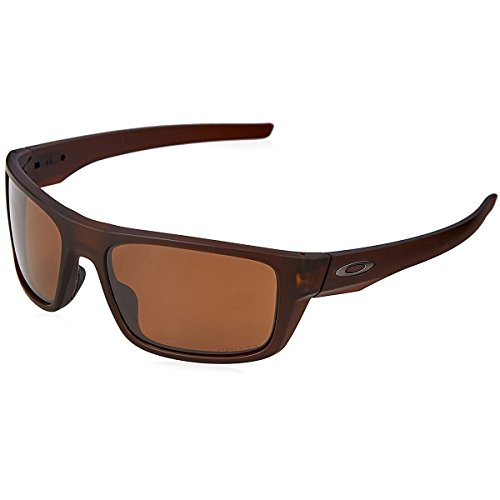 Oakley Men's Drop Point Polarized Iridium Rectangular Sunglasses, Matte Rootbeer, 60 mm