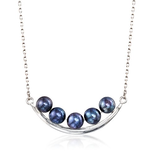 Ross-Simons 5.5-6mm Black Cultured Pearl Curved Bar Necklace in Sterling Silver