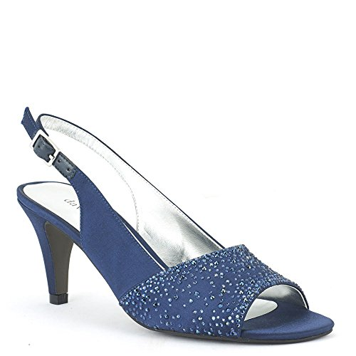 tunning Satin Embellished Slingback Pump Navy Size 8 ()