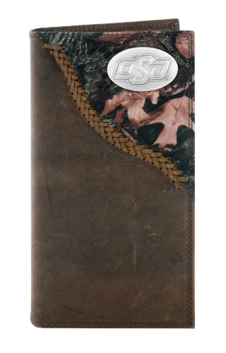 NCAA Oklahoma State Cowboys Zep-Pro Leather Roper Concho Wallet, Camouflage