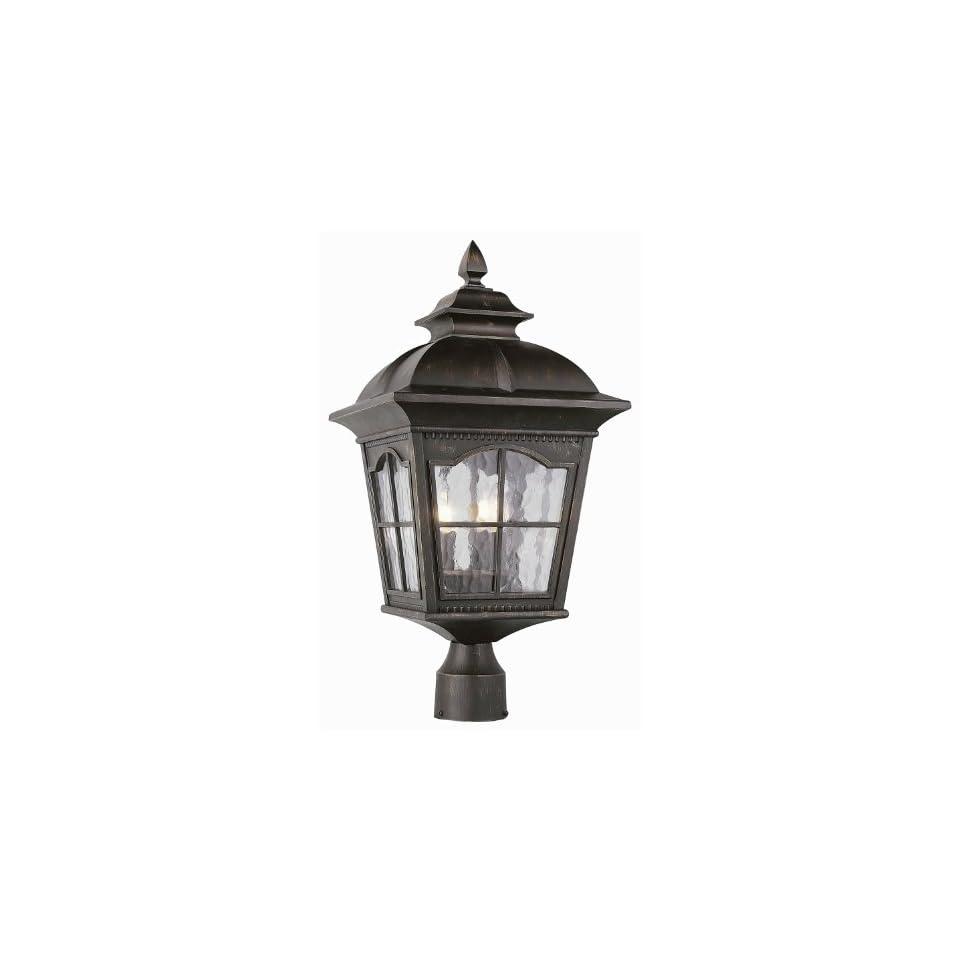 Trans Globe 5422 Chesapeake   Three Light Outdoor Post Lantern, Black