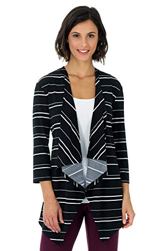 Rekucci Travel in Style - Women's Essential Fluid Throw Over Jacket (Medium,Black/Ivory Wide Stripe)