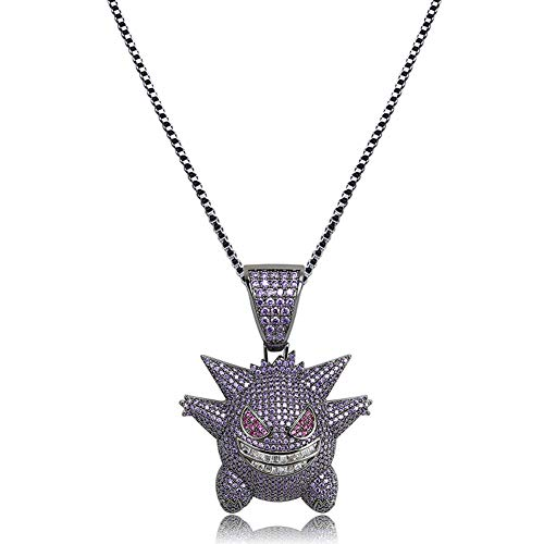 KOSMOLING Hip Hop Jewelry Iced Out Gengar Pendant Necklace for Men and Women, Gold Silver Purple 3 Colors, with 24inch Stainless Steel Chain (Purple)
