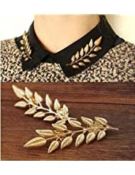 XY Fancy European Vintage Gold Leaves Blouse Suit Collar Brooch a Pair