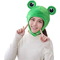 Amosfun Cute Plush Frog hat Winter Scarf Cap Ears Winter ski hat Full Headgear Novelty Party Dress up Cosplay Costume…