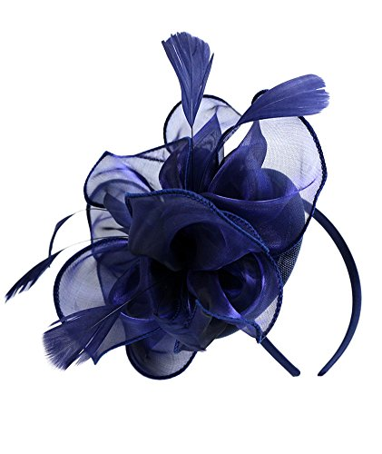 Urban CoCo Women's Vintage Flower Feather Mesh Net Fascinator Hair Clip Hat Party Wedding (Navy Blue-Series 4) (Fascinator Hats Blue)