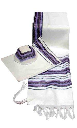 Talitnia Wool Blend Carmel (Herringbone Weave) Tallit Prayer Shawl with Matching Bag in Purple and Lavender Shades Size 18