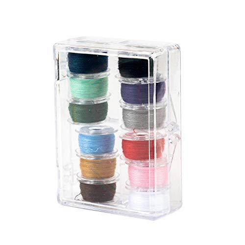 SINGER 21495 Class 15 Threaded Bobbins, Transparent, Assorted Colors, 12-Count]()