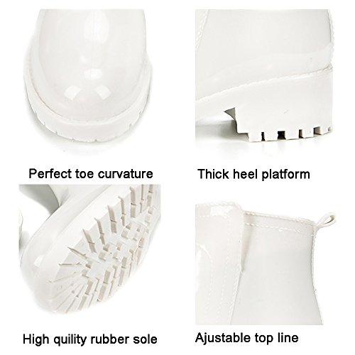 Heel Short Ankle Ladies For Booties Black White Waterproof Boots Rubber Dksuko Rain Low Womens Girls Shoes 5zxqF7wxBP