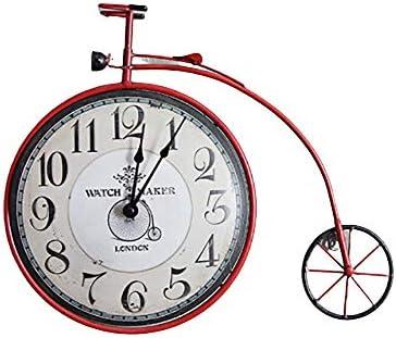 YLXD Hierro Forjado Bicicleta Reloj de Pared decoración Reloj de ...