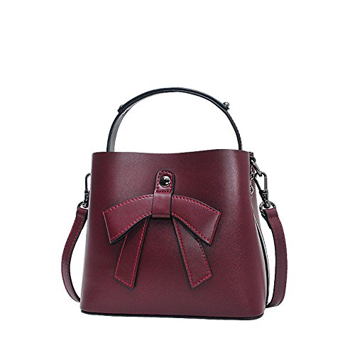 Bucket Bag Hand Bow Small Bag Leather Claret Bag Pink Ms Student Girls Satchel xBFq8IH