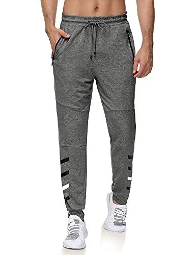 iWoo Men's Casual Sweatpants Gym Joggers Pants Slim Fit Workout Pants with Zipper Pockets