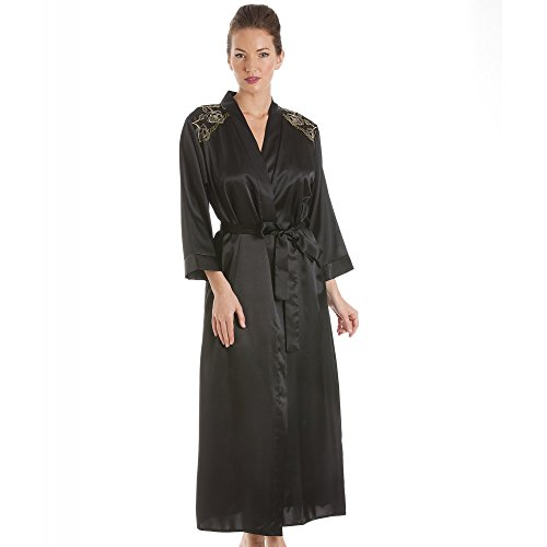 Camille Womens Ladies Luxury Black With Gold Embroidery Satin Bath Robe Wrap 10/12 BLACK