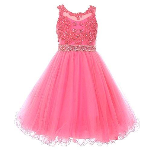 - Cinderella Couture Big Girls Bubble Pink Rhinestone Pearl Beaded Mesh Junior Bridesmaid Dress 14