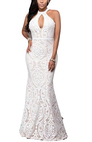 Dress Cocktail BLTR Bodycon Floral Front Cut Evening Lace Out White Women FwAaqzAOxp