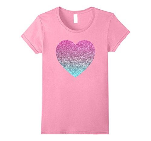 (Womens Pink Glitter Heart Tee Shirt Women's Funny Graphic Tees Tops Medium Pink)