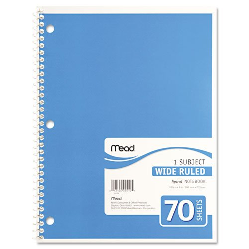 043100055105 - Mead Spiral 1-Subject Wide-Ruled Notebook, 1 Notebook, Color May Vary, Assorted Colors  (05510) carousel main 2