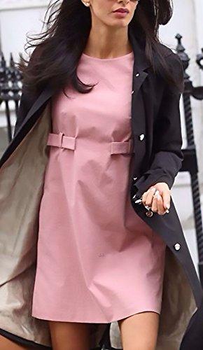 Kurzarm Festliches Rundhals Office Pink Kleid Mädchen Einfarbig Sommerkleider Damenkleider Kurz Dresses Damen Fashion Freizeitkleid Huixin Elegant Apparel Casual