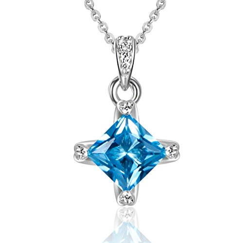 Carleen 2.02 Carats Square Swiss Blue Topaz Necklace Pendant for Fashion Sterling Silver Women Necklaces, 18 Inch