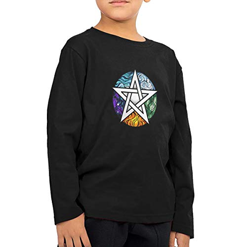 CoolTlong Wiccan and Pagan Symbolism Man's Handsome Long Sleeve T-Shirt Classical Tshirt Helpshirt Black -