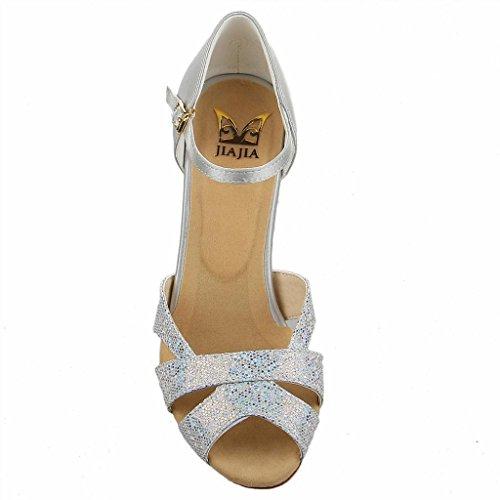 con Lentejuelas 7 Baile Jia Zapatos Plateado '' Super Y2054 Mujer Satinado Latin de 2 Talón Acampanados Para Jia Sandalias TWwp60qOxw