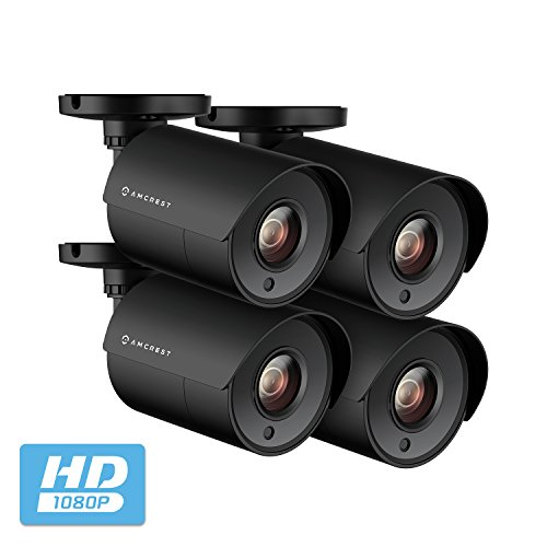 4-Pack Amcrest Full HD 1080P Bullet Outdoor Security Camera Quadbrid 4-in1 HD-CVI TVI AHD Analog , 2MP 1920×1080, Heavy Duty Housing, 2.8mm Lens 103 Viewing Angle, Black 4PACK-AMC2MBC28P-B