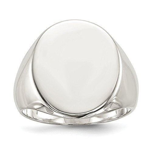 .925 Sterling Silver 19x16MM Solid Back Signet Ring ()