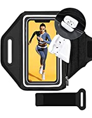 Phone Armband, Running Cell Phone Armband with Zippered Bag with Extension Strap & Key Holder for Running, Compatible with iPhone 12 Pro Max 11 Pro Max Xs XR 8 7 Plus, Galaxy S20+ S10 S9+ Up to 6.8''