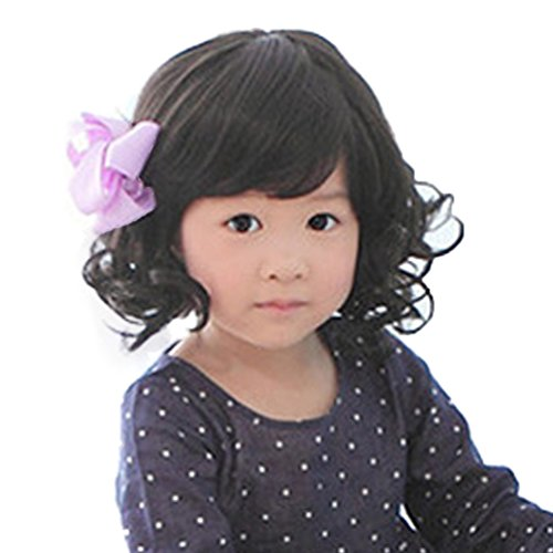 Rise World Wig Fashion Black Curly Wigs for Kids Child Bangs Heat Friendly Cosplay Wig, Dark, One Size -