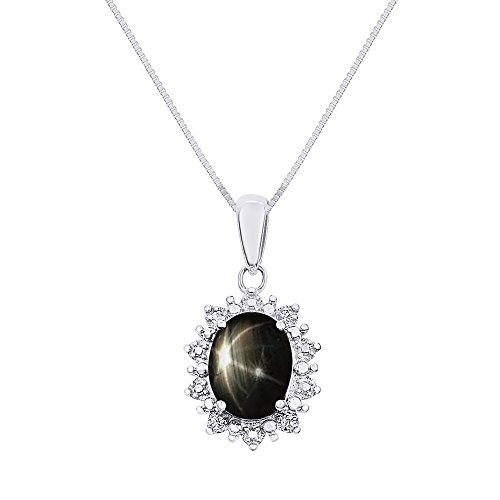 Diamond & Black Star Sapphire Pendant Necklace Set In Sterling Silver .925 with 18