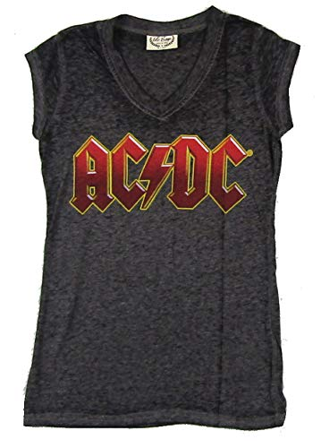(AC/DC Red Name Girls Juniors Crop Sleeve Heather T Shirt (S))