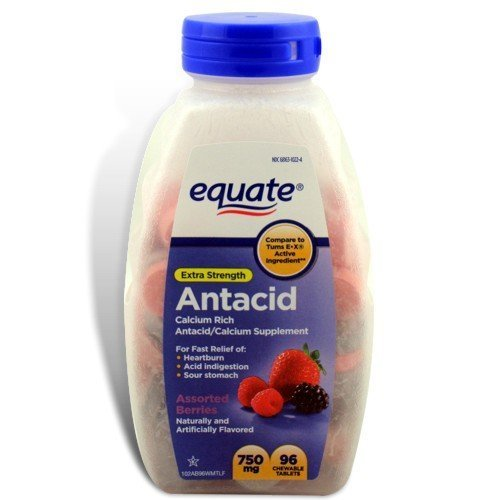 - (2Pack) Equate - Antacid Tablets, Extra Strength 750 mg, 96 Chewable Tablets, Assorted Berries Flavors