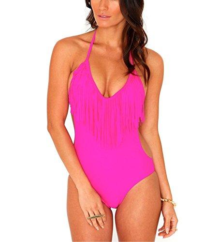V28® Padded One Piece Fringed Swimsuit Swimwear Monokini (US size: S, Pink2)