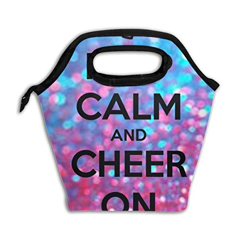(Keep Calm and Cheer On Reusable Insulated Lunch Bag Cooler Tote Box with Zipper Closure for Woman Man Work Pinic Or Travel)